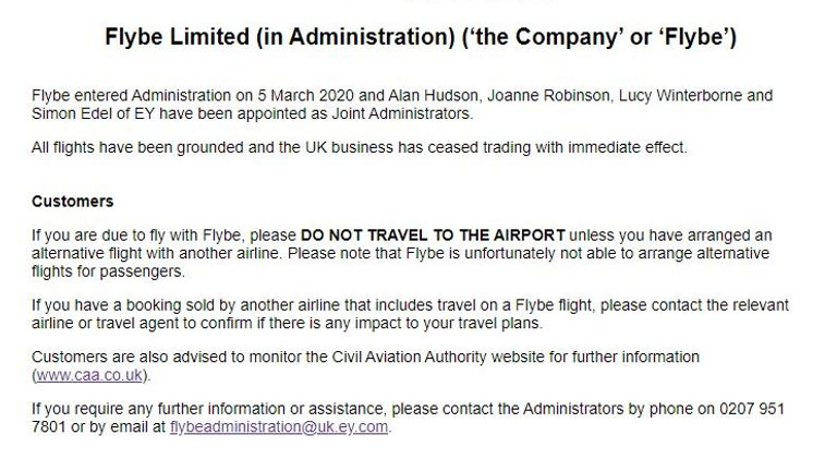 Flybe announced it had gone into administration just after 3am on Thursday