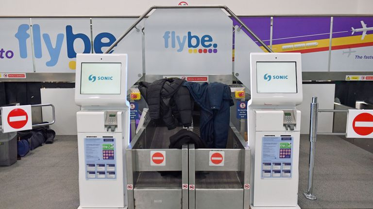 Jackets and coats left at theFlybe check-in desks at Birmingham International Airport as Flybe, Europe's biggest regional airline, has collapsed into administration. PA Photo. Picture date: Thursday March 5, 2020. See PA story AIR FlyBe. Photo credit should read: Jacob King/PA Wire
