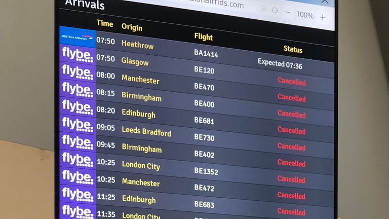The flight departure boards showing cancelled flights at Belfast Airport as Flybe, Europe's biggest regional airline, has collapsed into administration. PA Photo. Picture date: Thursday March 5, 2020. See PA story AIR FlyBe. Photo credit should read: David Young/PA Wire