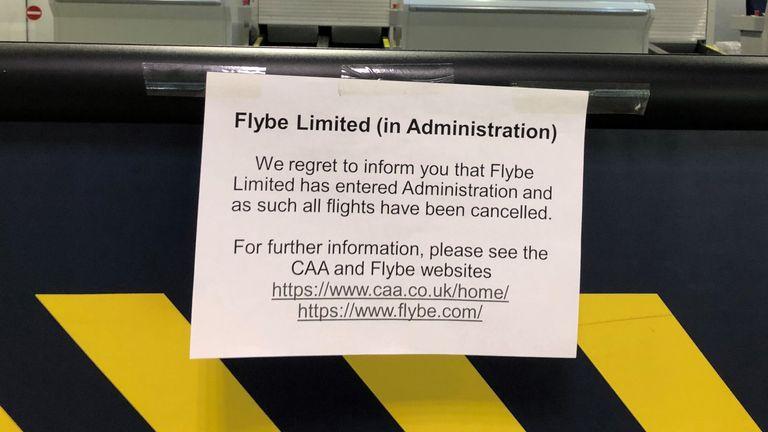 A sign to customers at Manchester Airport as Flybe, Europe's biggest regional airline, has collapsed into administration. PA Photo. Picture date: Thursday March 5, 2020. See PA story AIR FlyBe. Photo credit should read: Pat Hurst/PA Wire