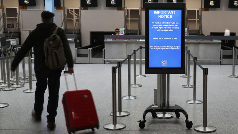 A sign at Southampton Airport notifying customers that Flybe flights will not be operating, as Flybe, Europe's biggest regional airline, has collapsed into administration. PA Photo. Picture date: Thursday March 5, 2020. See PA story AIR FlyBe. Photo credit should read: Andrew Matthews/PA Wire