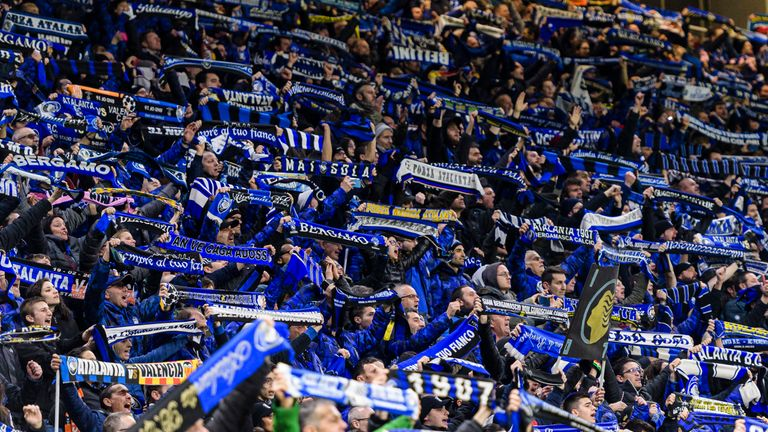Atalanta supporters during the UEFA Champions League tie against Valencia at the San Siro on 19 February