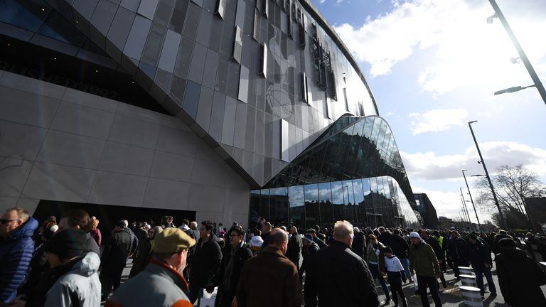 General view outside the stadium prior to the Premier League match between Tottenham Hotspur and Wolverhampton Wanderers at Tottenham Hotspur Stadium on March 01, 2020