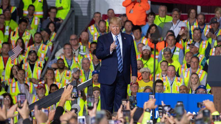 President Trump addressing Pennsylvania energy workers in August 2019