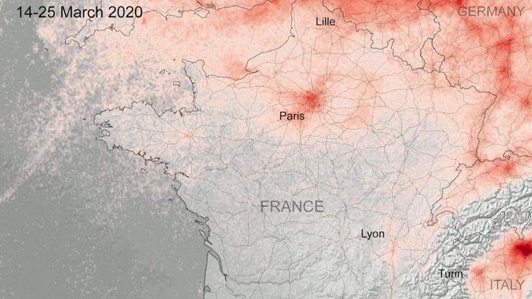 Air pollution has decreased in urban areas across Europe during lockdowns to combat the coronavirus, new satellite images show. France less polluted
