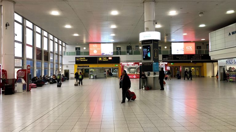 An eerily quiet Gatwick airport