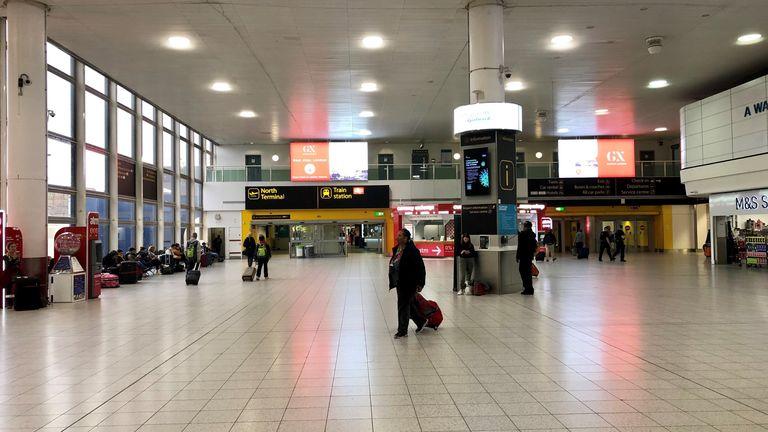 An eerily quiet Gatwick airport