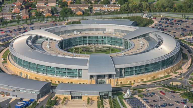 CHELTENHAM, CHELTENHAM. OCTOBER 07. Aerial photograph of the Government Communications Headquarters, also known as GCHQ, Cheltenham Gloucestershire. (Photograph by David Goddard/Getty Images)