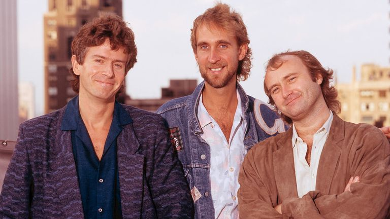 Genesis group portrait session, Chicago, United States, October 1986, Tony Banks, Mike Rutherford, Phil Collins. (Photo by Michael Putland/Getty Images)