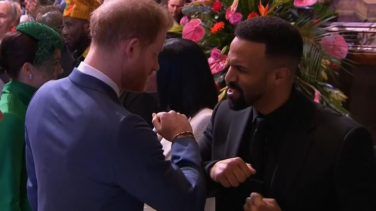 The Duke and Duchess of Sussex met singer Craig David and boxer Anthony Joshua during a Commonwealth service at Westminster Abbey