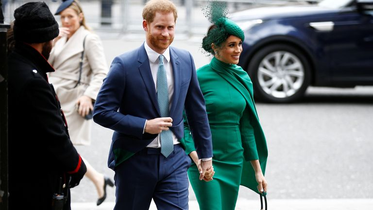 Prince Harry and Meghan, Duchess of Sussex, arrive for the annual Commonwealth Service at Westminster Abbey