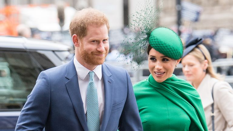 Harry flashed a smile as he arrived with his wife, Meghan for their final outing as senior royals