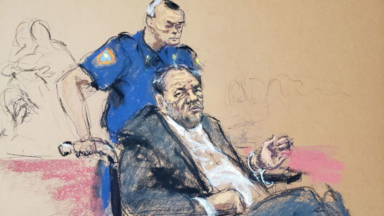 Harvey Weinstein sits in a wheelchair during the sentencing following his conviction on sexual assault and rape charges in the Manhattan borough of New York City, New York, U.S. March 11, 2020 in this courtroom sketch. REUTERS/Jane Rosenberg