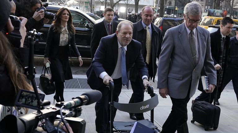 Harvey Weinstein arrives at the Manhattan Criminal Court, on February 24, 2020 in New York City