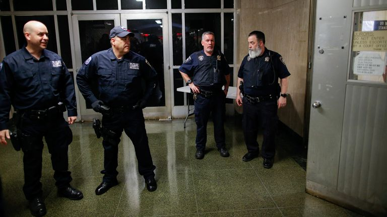 New York State Court policemen stood guard at the courtroom during film producer Harvey Weinstein's sentencing for sexual assault following his trial at New York Criminal Court in the Manhattan borough of New York City