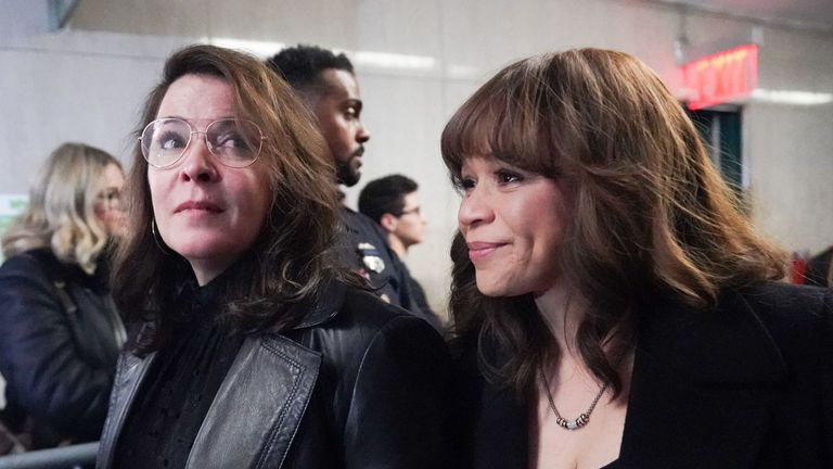 Annabella Sciorria and Rosie Perez(R) leave the courtroom following the sentencing of movie producer Harvey Weinstein at Manhattan Criminal Court on March 11, 2020 in New York