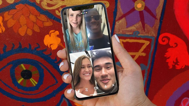 "Undated handout photo issued by HouseParty of their group video calling service being used on a smartphone. Houseparty has said it is looking into suggestions that hacking rumours circulating on social media had been created as part of a ""paid commercial smear campaign"" and is offering a one million dollar (£811,000) bounty to anyone who can provide the service with proof. PA Photo. Issue date: Tuesday March 31, 2020. See PA story HEALTH Coronavirus. Photo credit should read: Houseparty/PA Wire"