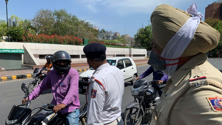 Assistant Sub Inspector Gill at a police checkpoint