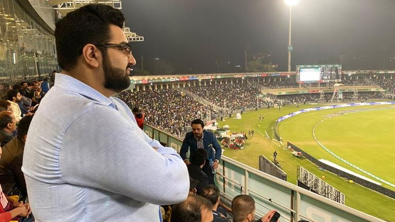 Inzy Rashid watching the cricket in Pakistan