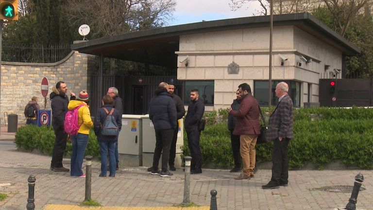Travellers visit the British embassy in Istanbul