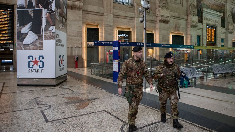 Soldiers patrol Milan's Central Station