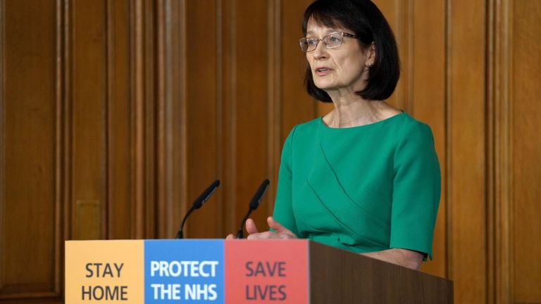 Dr Jenny Harries was speaking at the daily Downing Street briefing