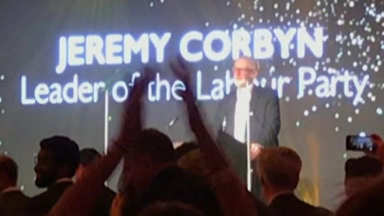 Jeremy Corbyn presents award at British Kebab Awards