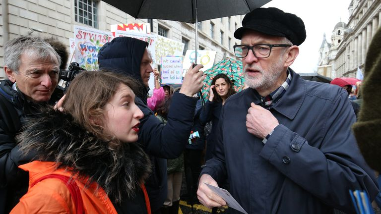 Jeremy Corbyn joined protesters for the rally in Whitehall
