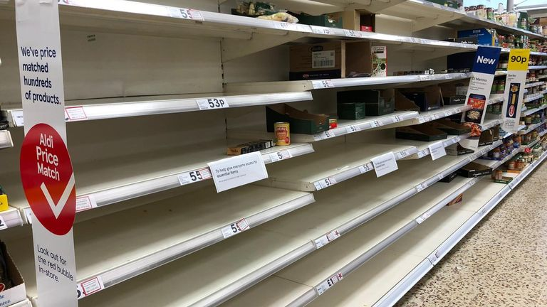 Empty shelves in the pasta aisle of Tesco on Sunday