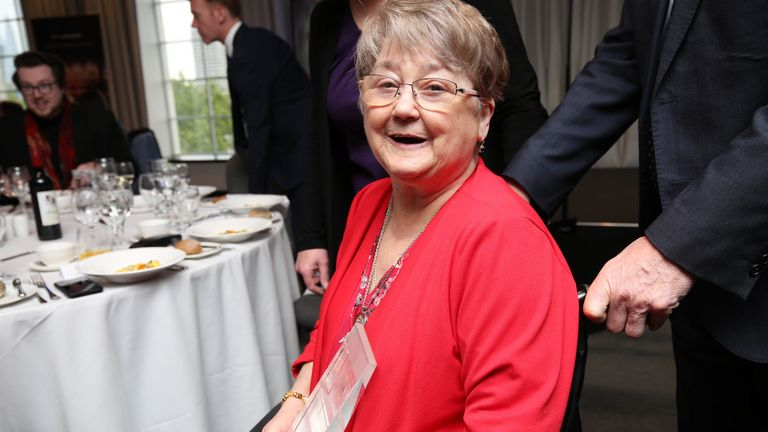 Mrs Joan McKee, the mother of murdered journalist Lyra McKee with a posthumous award for her daughter in May 2019