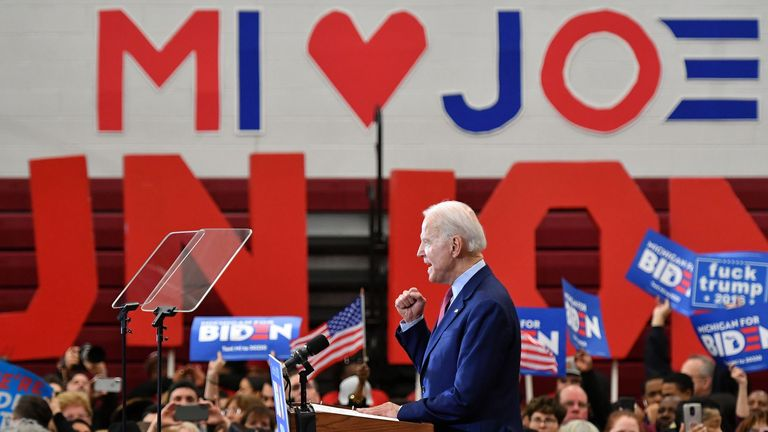 Democratic presidential candidate former Vice President Joe Biden speaks during a campaign rally at Renaissance High School in Detroit, Michigan