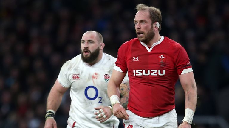 England's Joe Marler (left) appeared to grab Wales captain Alun Wyn Jones (right) in the groin area