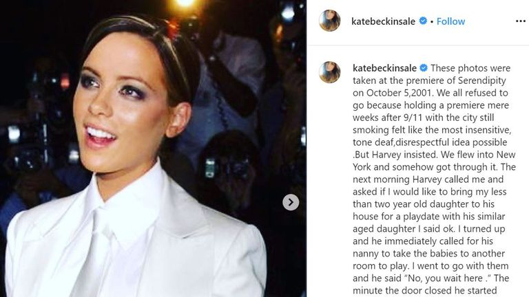 Kate Beckinsale posted this statement about Harvey Weinstein on Instagram