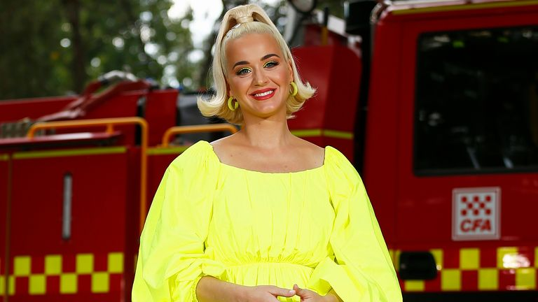 Katy Perry poses for a photograph on March 11, 2020 in Bright, Australia. The free Fight On concert was held for for firefighters and communities recently affected by the devastating bushfires in Victoria. (Photo by Daniel Pockett/Getty Images)