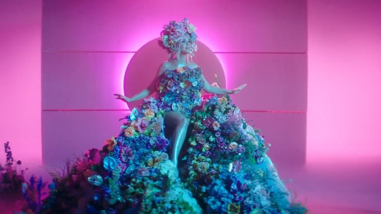 Katy Perry also appears in a floral outfit during the music video. Pic Capitol Records
