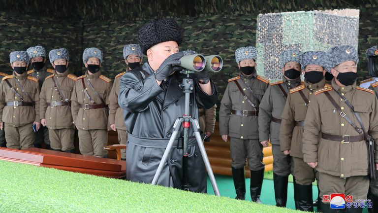 North Korean leader Kim Jong Un attends a military drill at the weekend