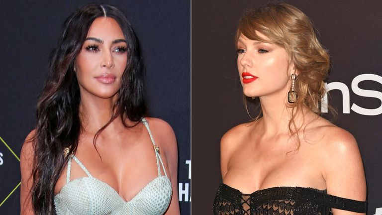 Kim Kardashian and Taylor Swift. Pics: Matt Baron/SPACE/Shutterstock
