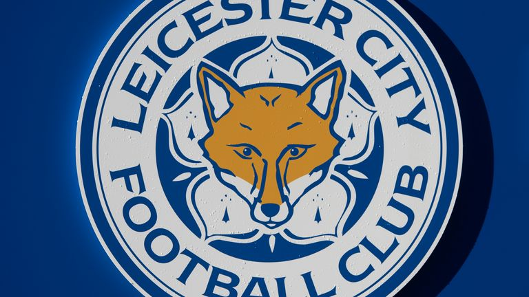 Leicester City's official club badge outside the King Power stadium