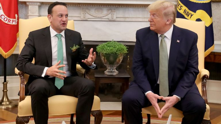 Taoiseach Leo Varadkar (left) meets US President Donald Trump in the Oval Office at the White House in Washington DC during the Taoiseach's visit to the US. PA Photo. Picture date: Thursday March 12, 2020. See PA story IRISH UnitedStates. Photo credit should read: Niall Carson/PA Wire