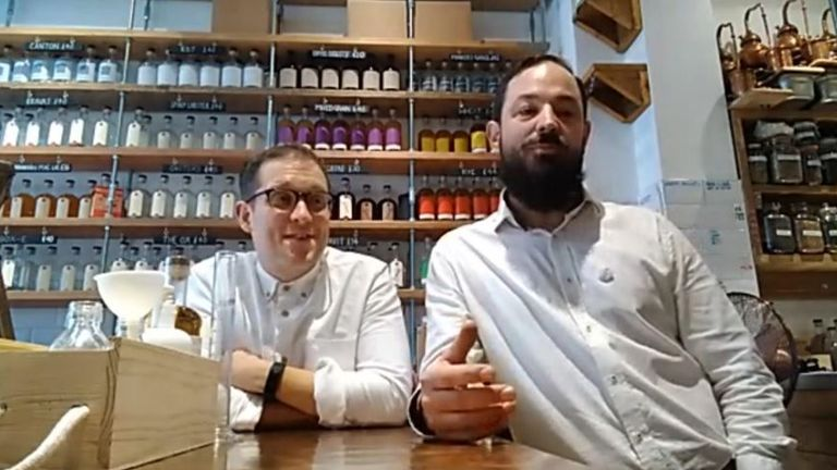 Danny Walker and Liam Hirt from Psychopomp and Circumstance Distillery. They are using the distillery to make hand sanitiser.