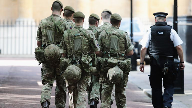 on May 24, 2017 in London, England. 984 military personnel are being deployed around the country as the UK terror status is elevated to Critical in the wake of the Manchester Arena Terror Attack which took place on Monday night.  Changing the Guard at the Buckingham Palace was cancelled and The Houses of Parliament have closed to the public.