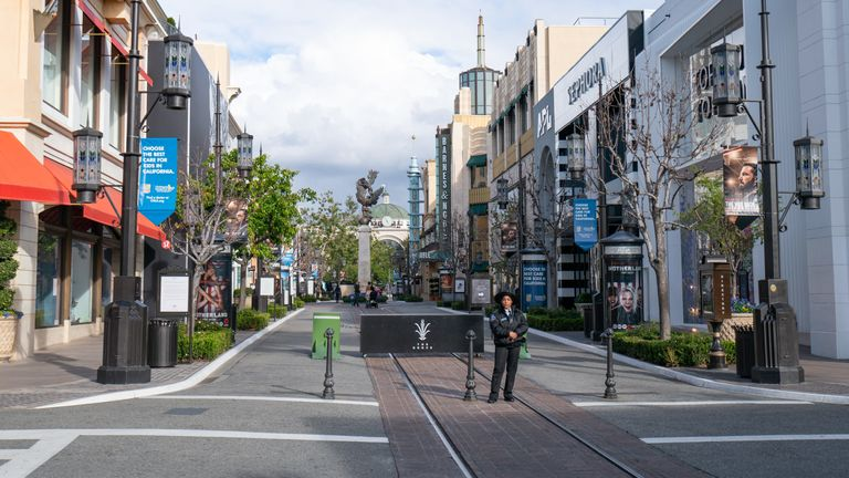 A general view of The Grove after Los Angeles ordered the closure of all non-essential services and entertainment venues earlier this week and hours before the 'Safer at Home' emergency order was issued by L.A. authorities amid the ongoing threat of the coronavirus outbreak on March 19, 2020 in Los Angeles, California