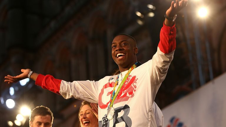 Lutalo Muhammad thanks the crowd during the Olympics & Paralympics Team GB - Rio 2016 Victory Parade on October 17, 2016 in Manchester, England