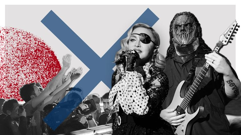 Madonna and Slipknot are among acts who have cancelled gigs due to coronavirus