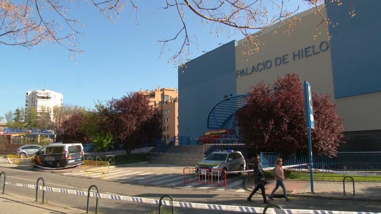 An ice rink in Madrid is being used as a morgue during the coronavirus outbreak