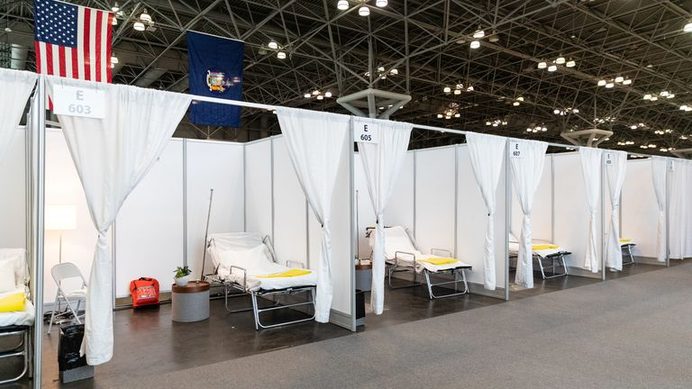 Improvised hospital rooms are seen at the Jacob K Javits Convention Center in New York