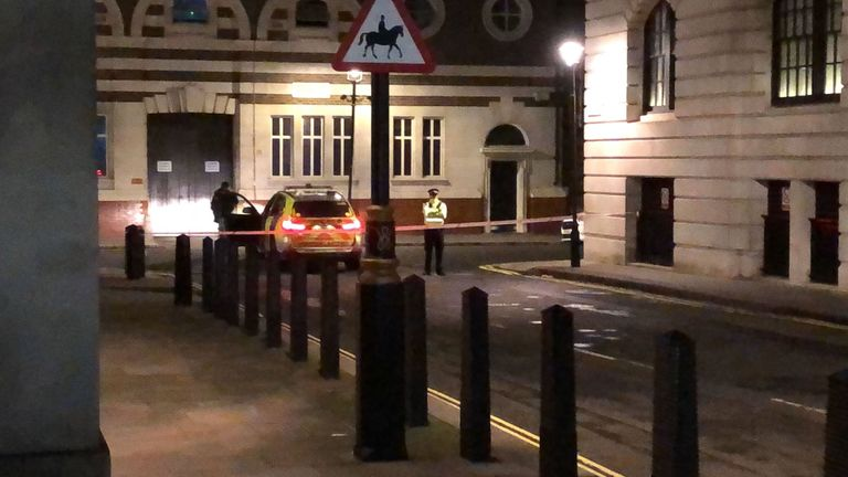A police cordon in Westminster after a man brandishing knives was shot dead by police on Sunday night