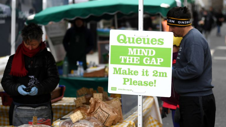 Shoppers at the market have been encouraged to keep two metres apart