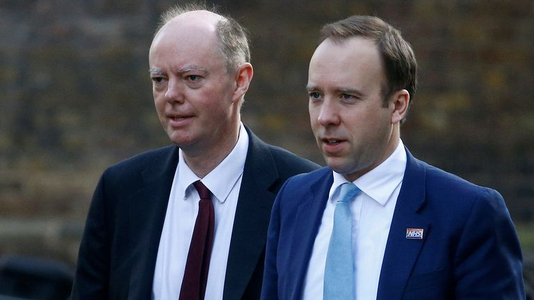 Chief Medical Officer for England, Chris Whitty and Britain's Secretary of State of Health Matt Hancock are seen outside Downing Street, as the spread of the coronavirus disease (COVID-19) continues, in London, Britain March 17, 2020. REUTERS/Henry Nicholls