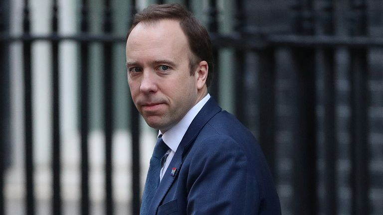 Britain's Secretary of State of Health Matt Hancock is seen outside Downing Street, as the spread of coronavirus disease (COVID-19) continues. London, Britain, March 25, 2020. REUTERS/Hannah Mckay